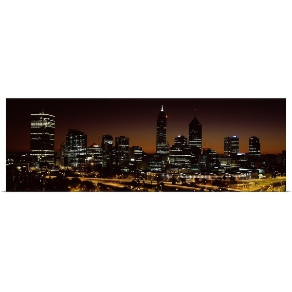 """Buildings lit up at dawn, Perth, Western Australia, Australia"" Poster Print"