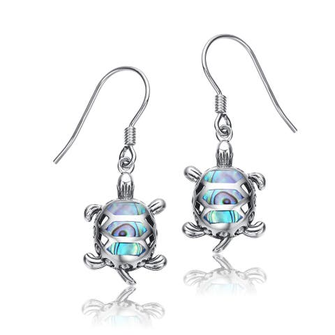 Collette Z Sterling Silver with Rhodium Plated and Abalone Turtle Drop Earrings