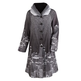 Women's Reversible Raincoat - Skyline Printed Black & Gray Hooded Jacket