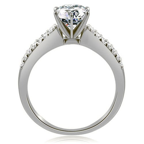 0.75 cttw. 14K White Gold Exquisite Split Shank Round Diamond Engagement Ring