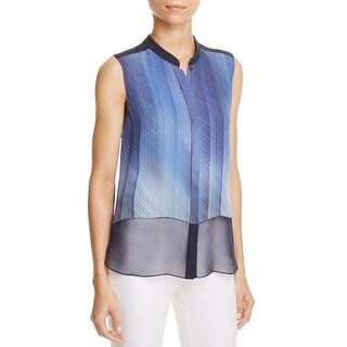 Elie Tahari Womens Eve Button-Down Top Silk Printed