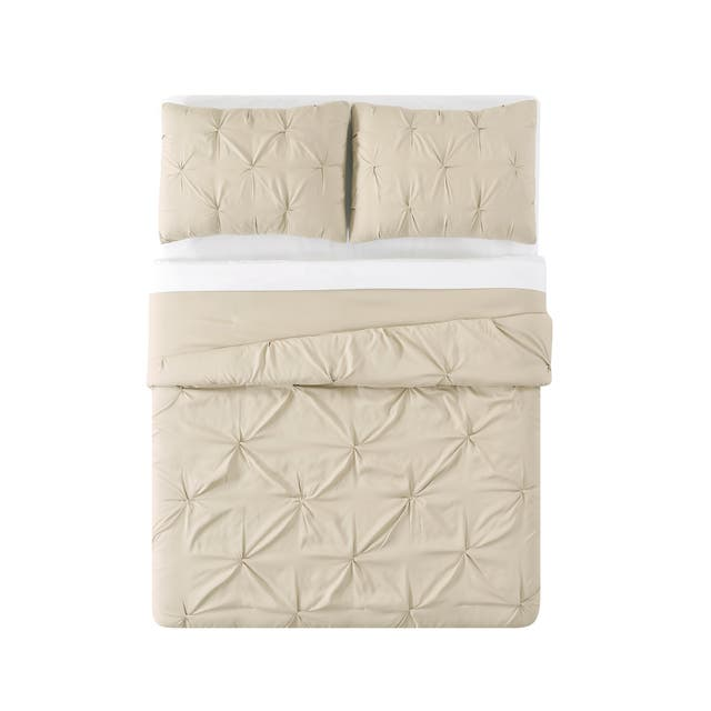 Truly Soft Pinch Pleat Solid 3-piece Microfiber Comforter Set