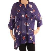 ANNE KLEIN Womens Purple Floral 3/4 Sleeve V Neck Top  Size: L