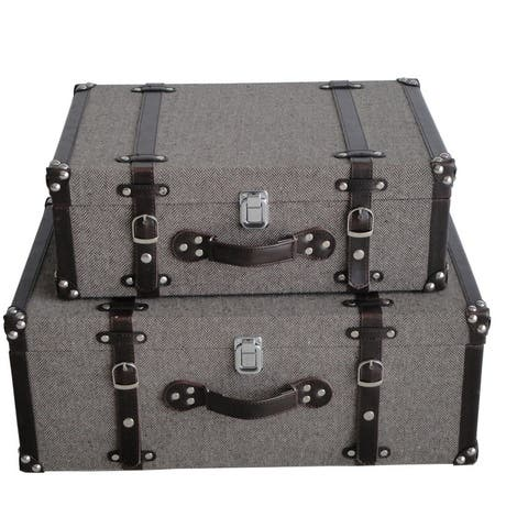 Saltoro Sherpi Textured Fabric Upholstered Suitcase With Nailhead Details, Gray, Set Of 2