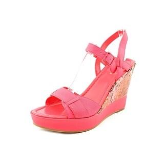 Cole Haan Paley High Wedge Women Open Toe Leather Pink Wedge Heel