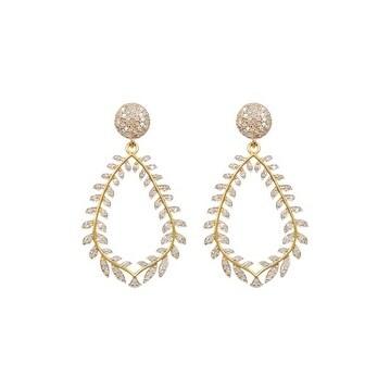 Pave Full Diamond Leaf Shape Sterling Silver Earring