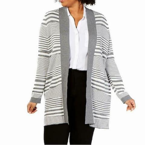 Charter Club Women Sweater Gray Size 3X Plus Cardigan Open Front Striped