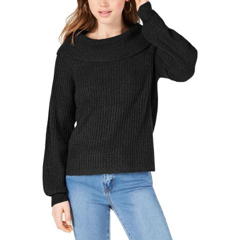 Hooked Up by IOT Womens Marilyn Sweater Cowl Neck Ribbed Knit - Black