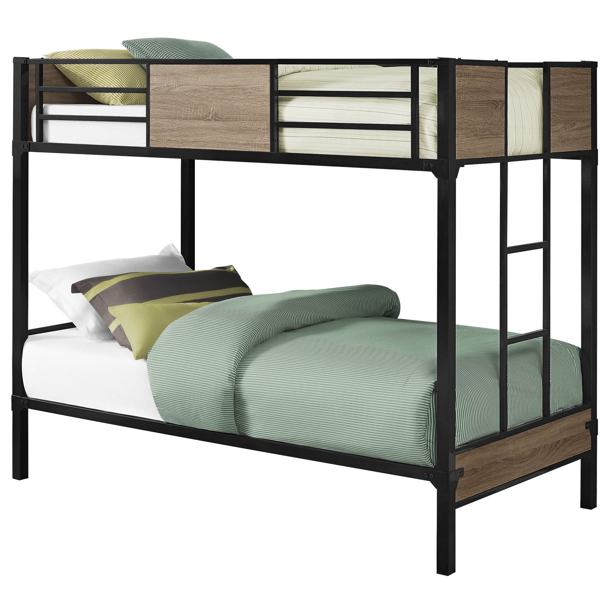 Offex Contemporary Bunk Bed Twin Twin Size Dark Taupe Black Metal On Sale Overstock 31484165