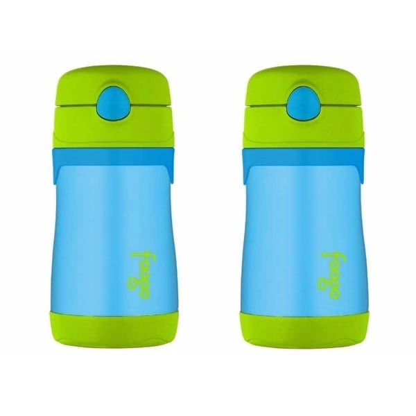 Thermos FOOGO Insulated Stainless Steel 10oz Straw Bottle, Blue/Green 2PK