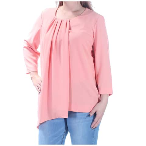 ALFANI Womens Coral Pleated Long Sleeve Scoop Neck Top Size 10