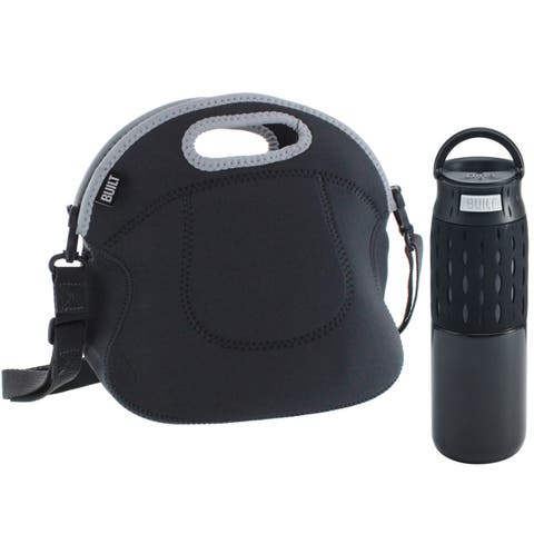 Built NY Touch Press-to-Drink Travel Coffee Mug Insulated 16 Oz & Built NY Spicy Relish Reusable Neoprene Lunch Tote - Black