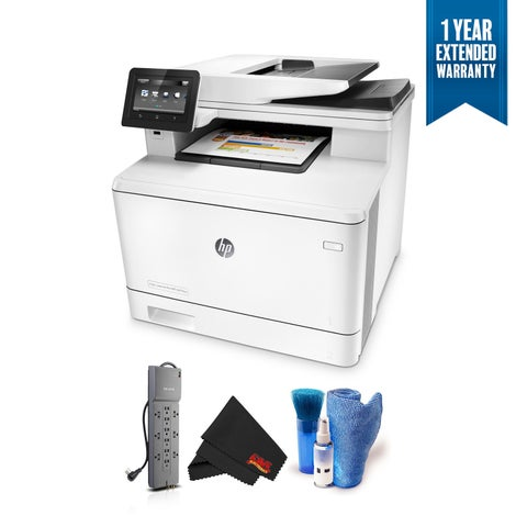 HP Color LaserJet Pro M477fnw Wireless Color Laser Printer Multifunction Bundle with 1 Year Extended Warranty + Surge Protector
