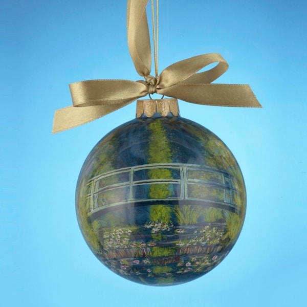 "Museum Masters International Water Lily Pond Hand-Painted Glass Christmas Ball Ornament 4"" (100mm) - multi"