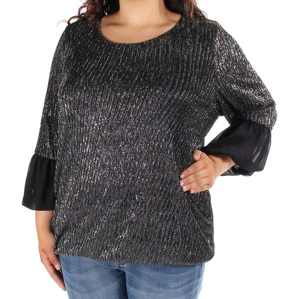 3d6149538e5 Shop Womens Black, Silver Bell Sleeve Jewel Neck Party Blouse Top Size 2X -  Free Shipping On Orders Over $45 - Overstock - 22420423