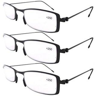 Eyekepper 3-Pack Lightweight Stainless Steel Frame Reading Glasses Black +4.0