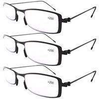 8c1c163a68a Eyekepper 3-Pack Lightweight Stainless Steel Frame Reading Glasses Black  +1.0