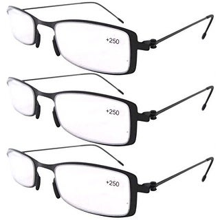 Eyekepper 3-Pack Lightweight Stainless Steel Frame Reading Glasses Black +1.5