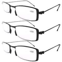 Eyekepper 3-Pack Lightweight Stainless Steel Frame  Reading Glasses Black +3.5