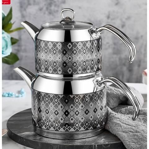 Stainless Steel Teapot Modern Teapot Silver Teapot Floral Design