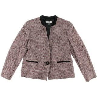 Kasper Womens Petites One-Button Blazer Shimmer Knit - 2p