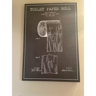 iCanvas 'Toilet Paper Charcoal Patent Blueprint' Canvas Print