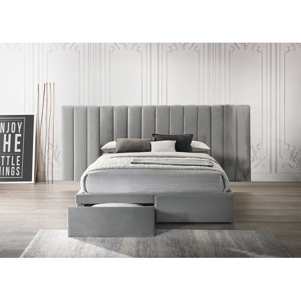 Faro Velvet Bed Frame with Extra Wide Headboard and Storage. Opens flyout.
