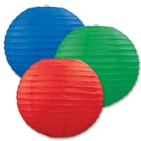 """Club Pack of 18 Round Festive Red, Green, and Blue Hanging Paper Lanterns 9.5"""" - Red"""