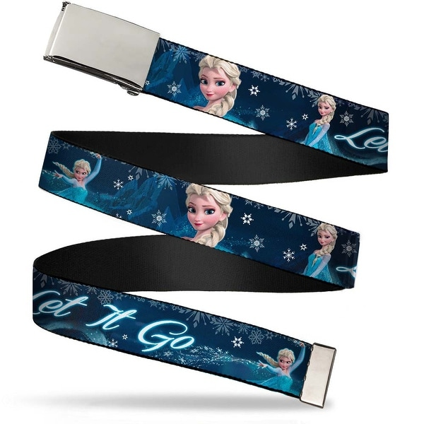 Blank Chrome Buckle Elsa The Snow Queen Poses Snowflakes Let It Go Web Belt