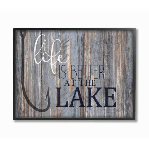 Stupell Industries Life Better Lake Quote Fish Lakehouse Cabin Nautical Phrase Framed Wall Art