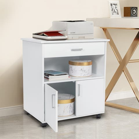 One Layer 2 Doors Wooden File Cabinet White