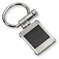 Chisel Stainless Steel and Black Carbon Fiber Brushed and Polished Key Ring