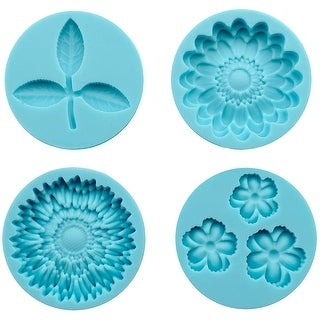 Martha Stewart Crafter's Clay Silicone Molds 4/Pkg-Flowers & Leaf