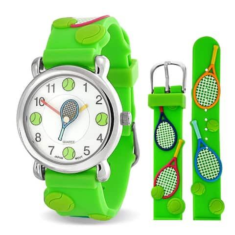 Tennis Racket Sports Waterproof Wrist Watch Quartz 3D Green Silicone