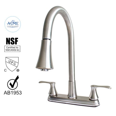 22167143 -Hybrid Metal Kitchen Sink Faucet with Pull down Spray Brushed Nickel