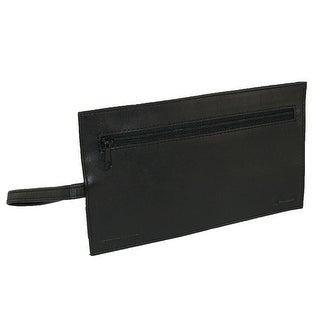 Winn International Leather Travel Loop Wallet, Black