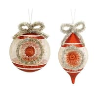 Set of 6 Orange and Silver Ball/Drop Decorative Christmas Ornaments 7.75""