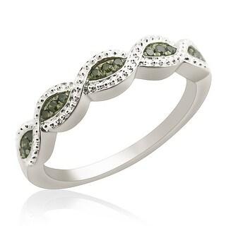 Beautiful Round Brilliant Cut Green Diamond Wedding Band Ring