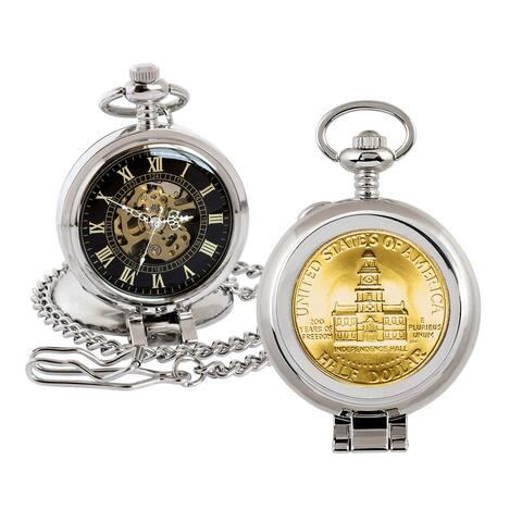 Gold-Layered JFK Bicentennial Half Dollar Coin Pocket Watch with Skeleton Movement - 2.75 x 1.5