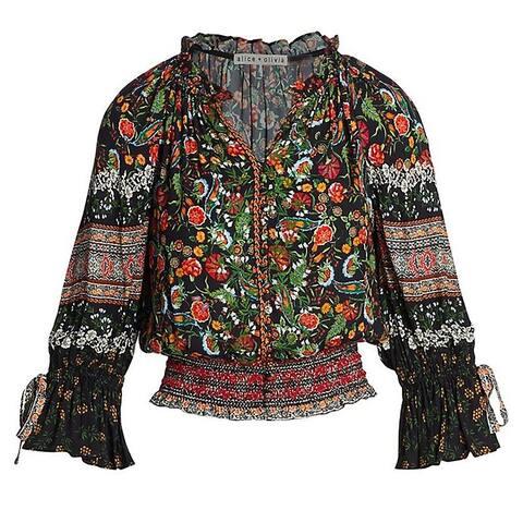 Alice Olivia Womens Kora Multi Color Paradise Kora Smocked Peasant Top Blouse