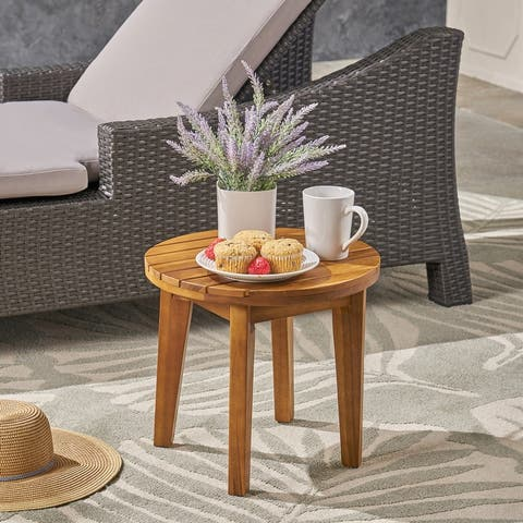 "Gertrude Outdoor 16"" Acacia Wood Side Table by Chirstopher Knight Home"