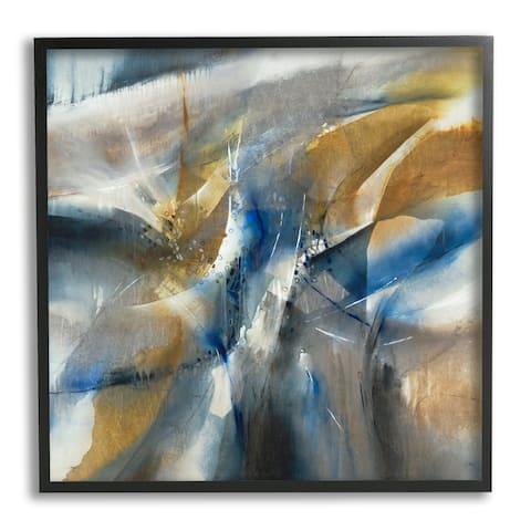 Stupell Industries Abstract Blue Grey Yellow Distortion Busy Shape Arrangement Framed Wall Art