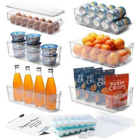 StorageBud Refrigerator Organizer Bins - Stackable Storage Containers - 14 Piece Set