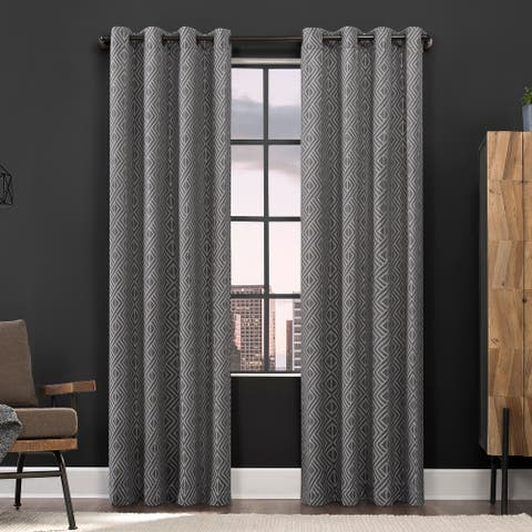 Scott Living Gresham Geometric Total Blackout Grommet Curtain Panel
