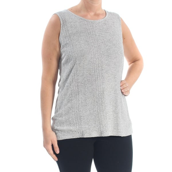 KASPER Womens Gray Sleeveless Blouse Top Size: L