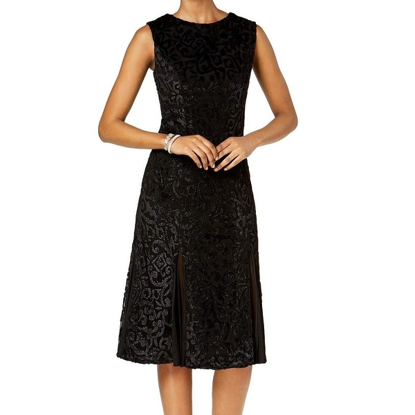 R&M Richards Black Womens Size 8 Velvet Lace Panel A-Line Dress