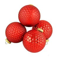 Red Prism Textured Shatterproof Christmas Ball Ornaments
