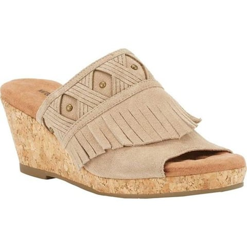 b6cb87807bfd Walking Cradles Women s Aniston Cork Wedge Sandal Light Taupe Max Suede