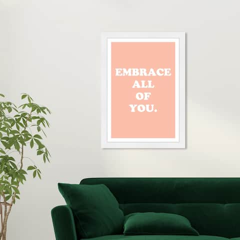 Wynwood Studio 'Embrace' Typography and Quotes Orange Wall Art Framed Print