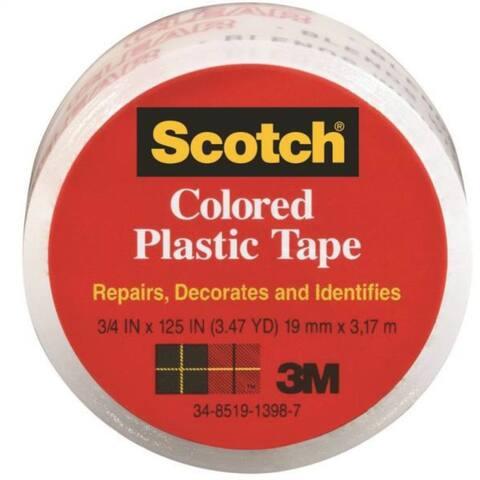 "Scotch 190C Transparent Plastic Tape, 3/4"" x 125"", Clear"